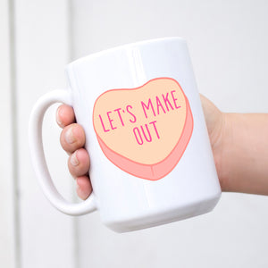 Let's Make Out Conversation Heart Valentine's Day Mug