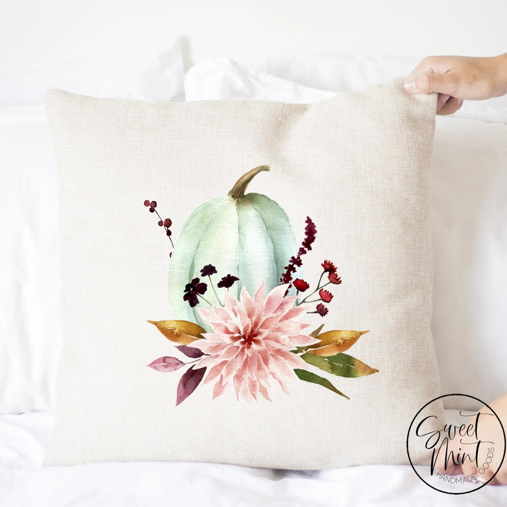 Light Blue Floral Pumpkin Pillow Cover - Fall / Autumn 16X16