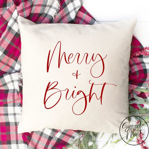 Merry And Bright Red Pillow Cover - 16 X