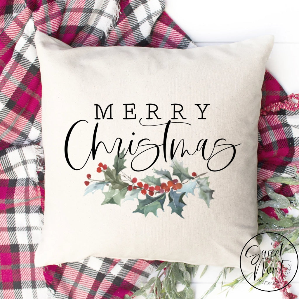 Merry Christmas Holly Pillow Cover - 16 X