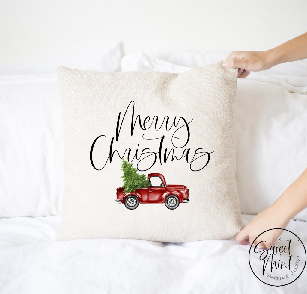 Merry Christmas Red Truck Pillow Cover - 16 X