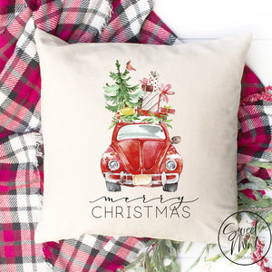 Merry Christmas With Red Car - 16 X Pillow Cover