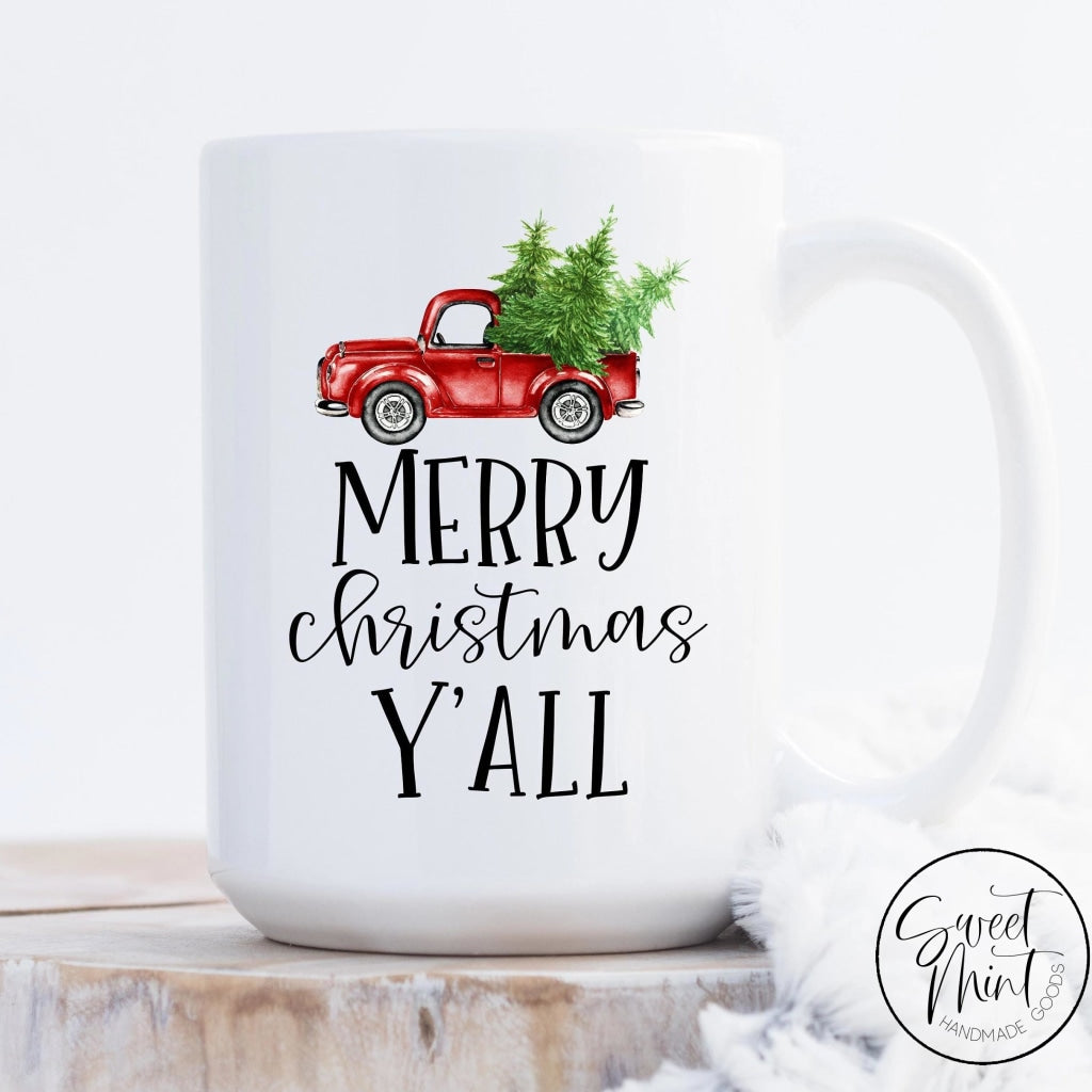 Merry Christmas Yall Mug W/ Red Vintage Tree Truck