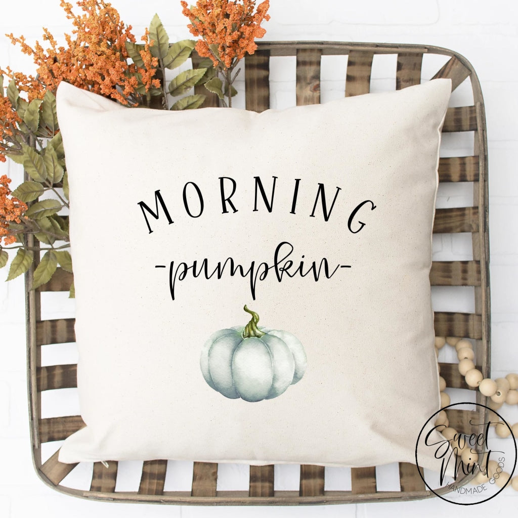 Morning Pumpkin W Blue Pillow Cover - Fall / Autumn 16X16