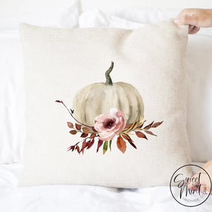 Neutral Pumpkin Floral Pillow Cover - Fall / Autumn 16X16