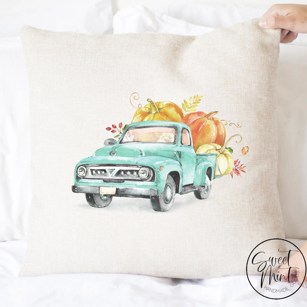 Old Truck Front With Pumpkins Pillow Cover - Fall / Autumn 16X16