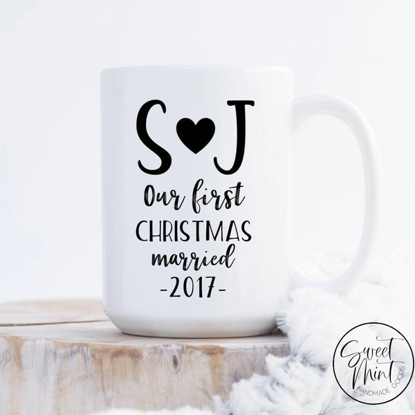 Our First Christmas Married Mug Newlyweds Gift