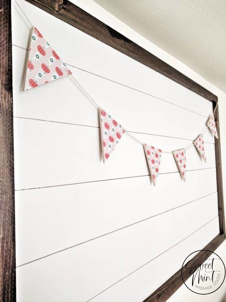 Pink Pumpkin Spice Triangle Wood Banner