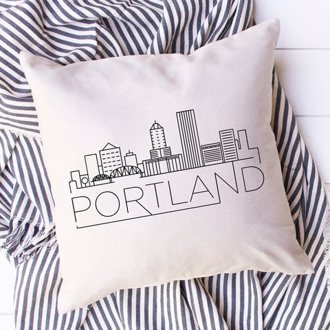 Portland Skyline Pillow Cover