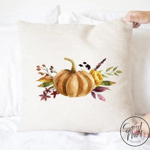 Pumpkin Floral Dark Orange Pillow Cover - Fall / Autumn 16X16