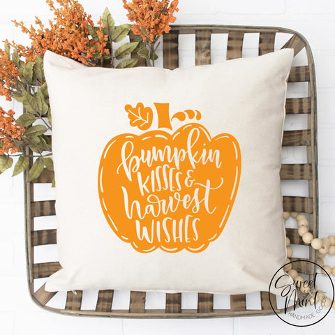 Pumpkin Kisses And Harvest Wishes Pillow Cover - Fall / Autumn 16X16
