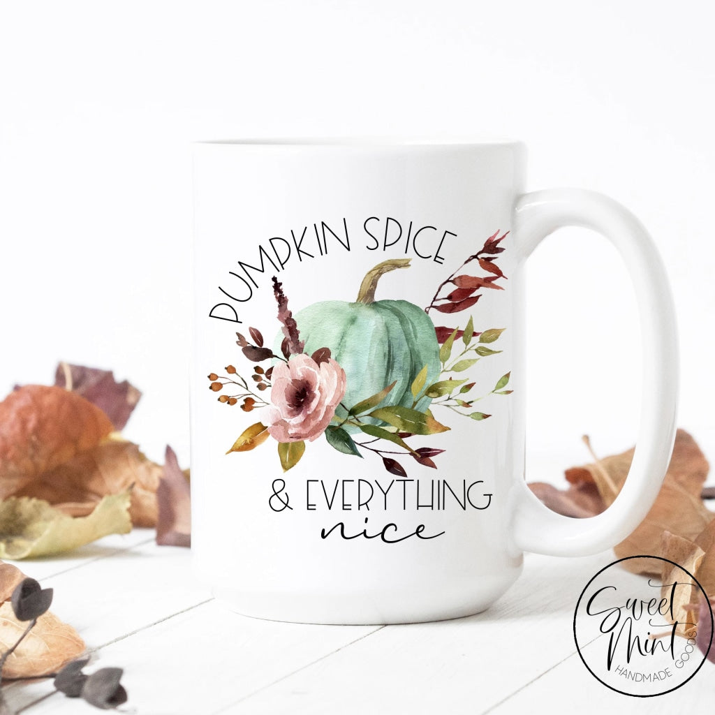 Pumpkin Spice And Everything Nice W Floral Blue Mug - Fall / Autumn Mug