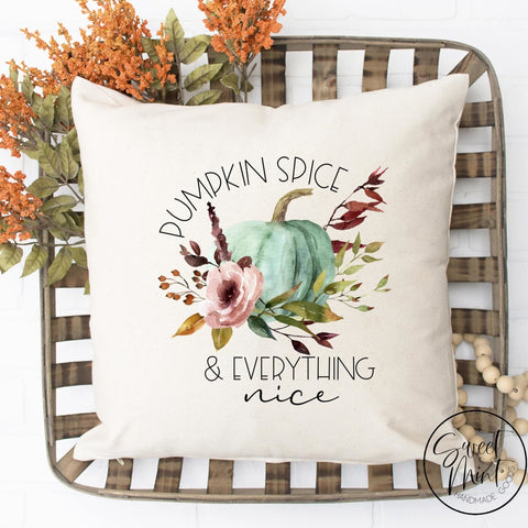 Pumpkin Spice & Everything Nice Floral W Blue Pillow Cover - Fall / Autumn 16X16