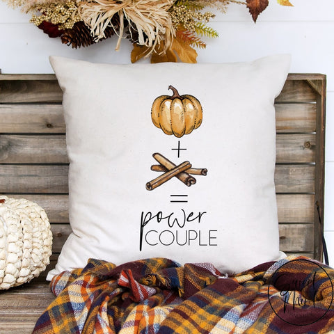 Pumpkin + Spice = Power Couple Pillow Cover - Funny Fall 16X16