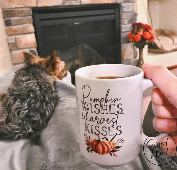 Pumpkin Wishes And Harvest Kisses W Orange Mug - Fall / Autumn Mug