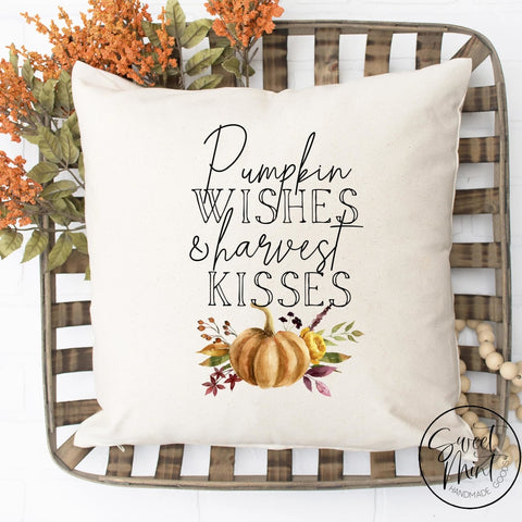 Pumpkin Wishes & Harvest Kisses W Orange Pillow Cover - Fall / Autumn 16X16