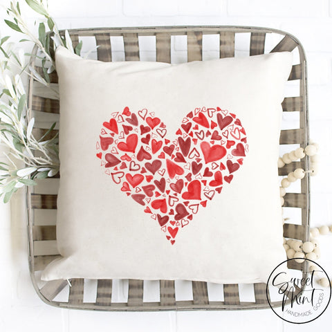 Red Hearts Pillow Cover - 16X16 Pillow Cover