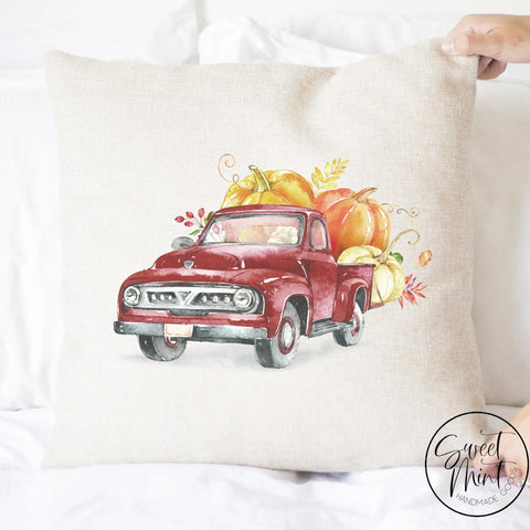 Red Vintage Pumpkin Pick Up Truck Pillow Cover - Fall / Autumn 16X16