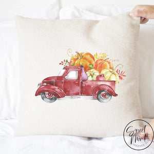 Red Vintage Pumpkin Pick Up Truck Side Pillow Cover - Fall / Autumn 16X16