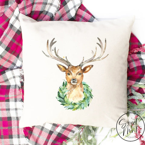 Reindeer Wreath Pillow Cover - 16 X