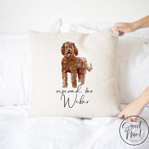 Reserved For Dog Pillow Red Doodle - 16X16 Cover