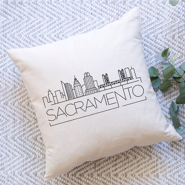 Sacramento Skyline Pillow Cover