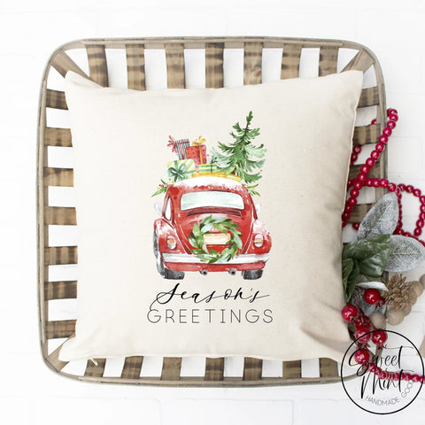 Seasons Greetings Red Beetle Pillow Cover - 16 X