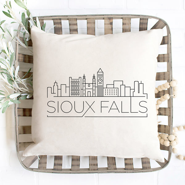 Sioux Falls Skyline Pillow Cover