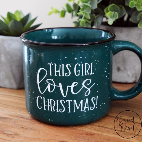 This Girl Loves Christmas Campfire Mug - Green