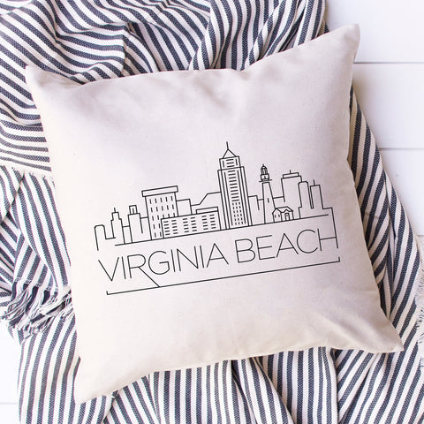 Virginia Beach Skyline Pillow Cover