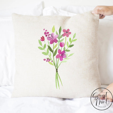 Watercolor Flowers Pillow Cover Spring - 16X16