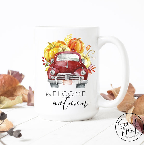 Welcome Autumn Mug - Red Vintage Truck