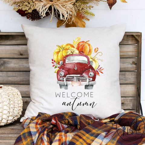 Welcome Autumn Pillow Cover - Red Vintage Pumpkin Truck 16X16