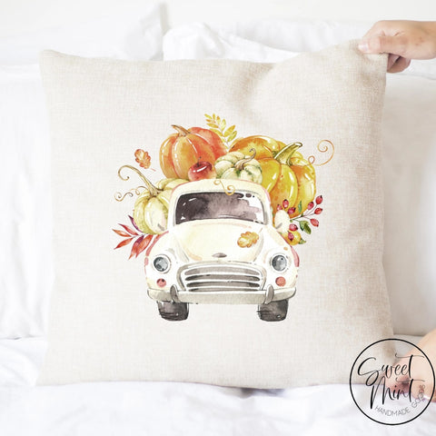 White Vintage Pumpkin Pick Up Truck Pillow Cover - Fall / Autumn 16X16