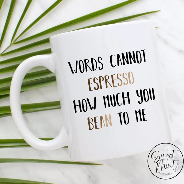 Words Cannot Espresso How Much You Bean To Me Mug