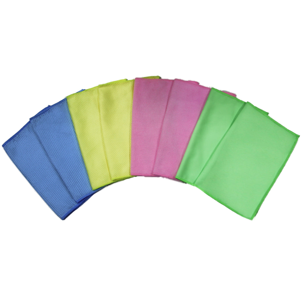 8 Pack Microfiber Cloths 12 in. x 16 in. Combo