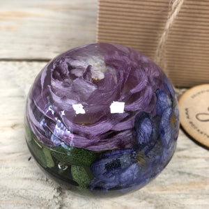 Wedding / Memorial Flowers Preserved in Resin Orb - 8cm
