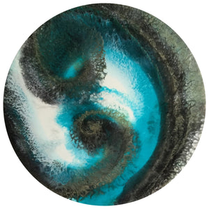 "Dragon Sea Resin and Acrylic Ink Original Abstract Artwork - 23"" diameter - GCC Artworks"