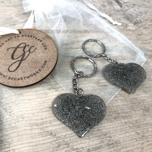 Memorial Ashes Preserved in Resin Heart Keyring