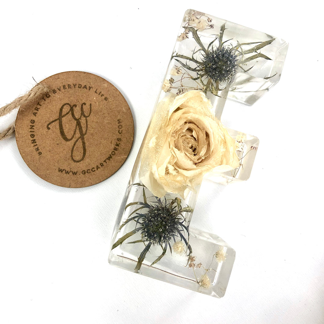 Memorial Flowers Preserved in Resin Letter - LARGE