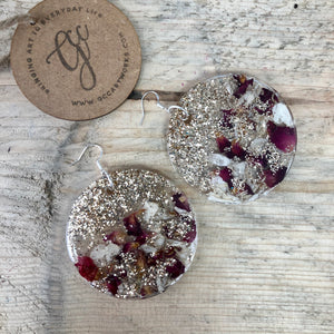 Resin Disc Earrings - Glitter and Confetti Infused