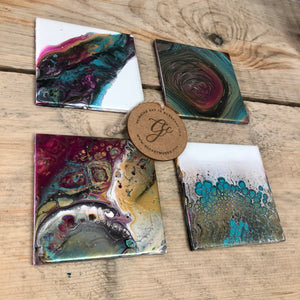 Acrylic Pour Coasters - Set of 4