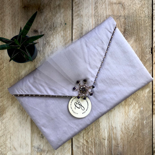 Handmade Quilted Clutch Bag - Lilac Silk and Tulle