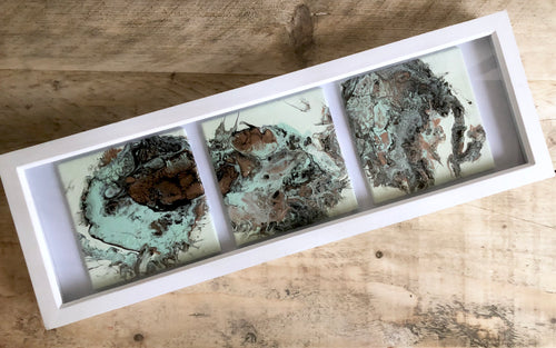 Acrylic Pour Original Abstract Artwork - Framed Trio - GCC Artworks - Bringing Art to Everyday Life