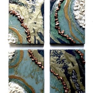 "GEODE RIVER Original Abstract Artwork - Set of Four 8.5"" x 6"" Artworks - GCC Artworks - Bringing Art to Everyday Life"