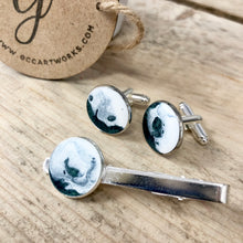Resin Art Cuff Links and Tie Pin- Green and White