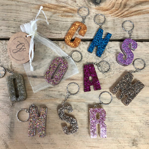 Custom Resin Letter Keyring - Glitter Infused