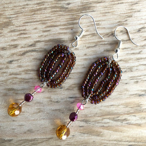 Autumnal Handcrafted Beaded Drop Earrings - GCC Artworks - Bringing Art to Everyday Life