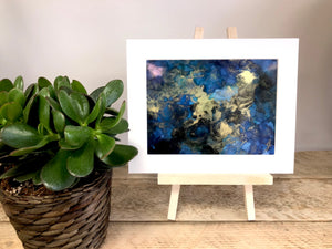 OCEAN - Original Black, Gold and Sea Blue Abstract Ink Artwork