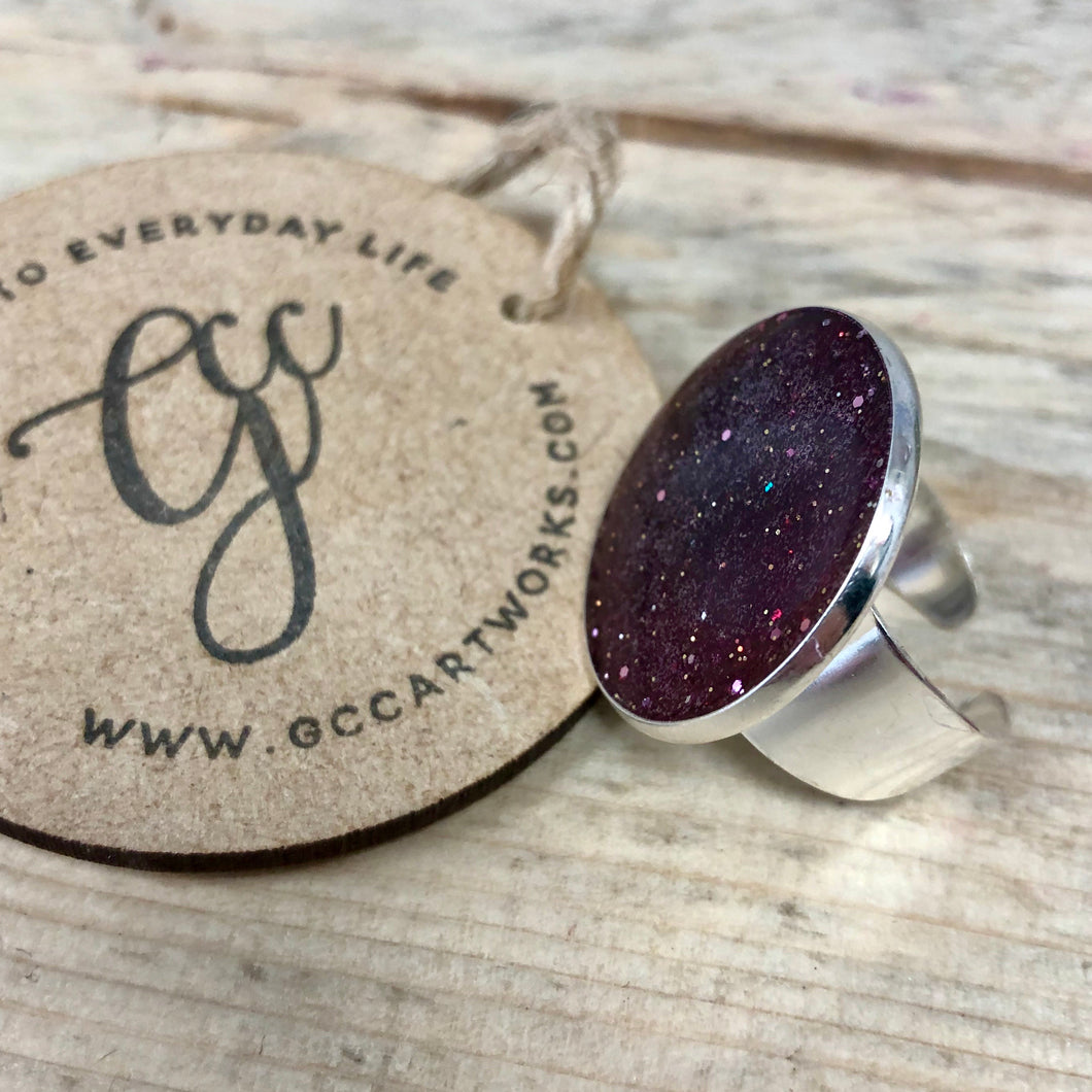 Resin Art Statement Ring - Wine Glitter
